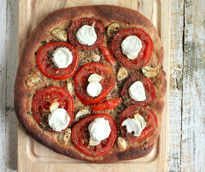 Tomato Garlic Coconut Mozzarella Pizza on Wheat Crust   Vegan Richa