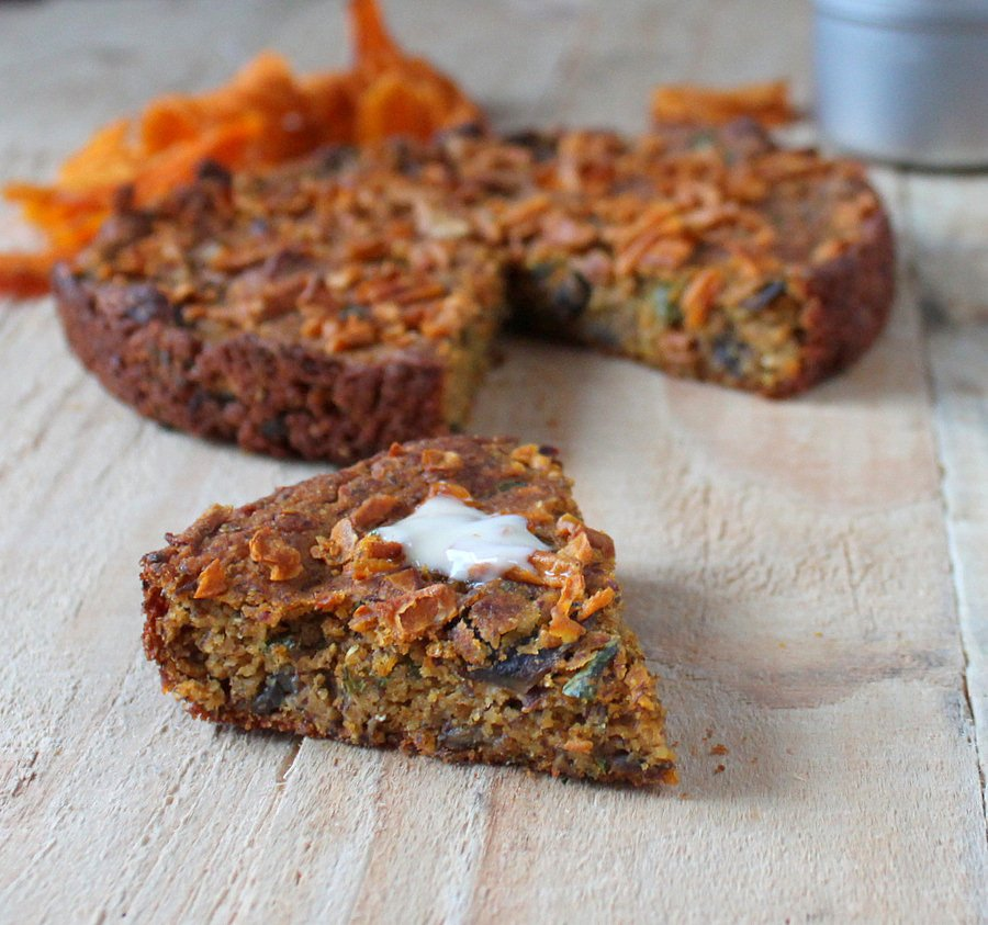 Gluten free Sweet Potato Cornbread with Mushrooms and Kale. vegan ...