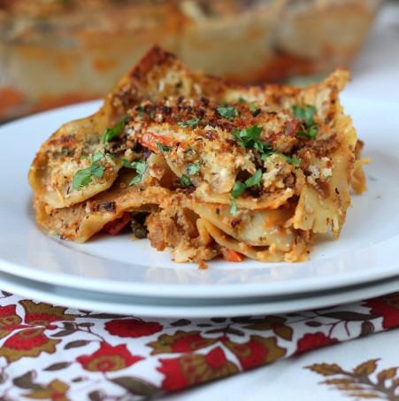 Chipotle Cauliflower Mushroom Lasagna with vegan havarti