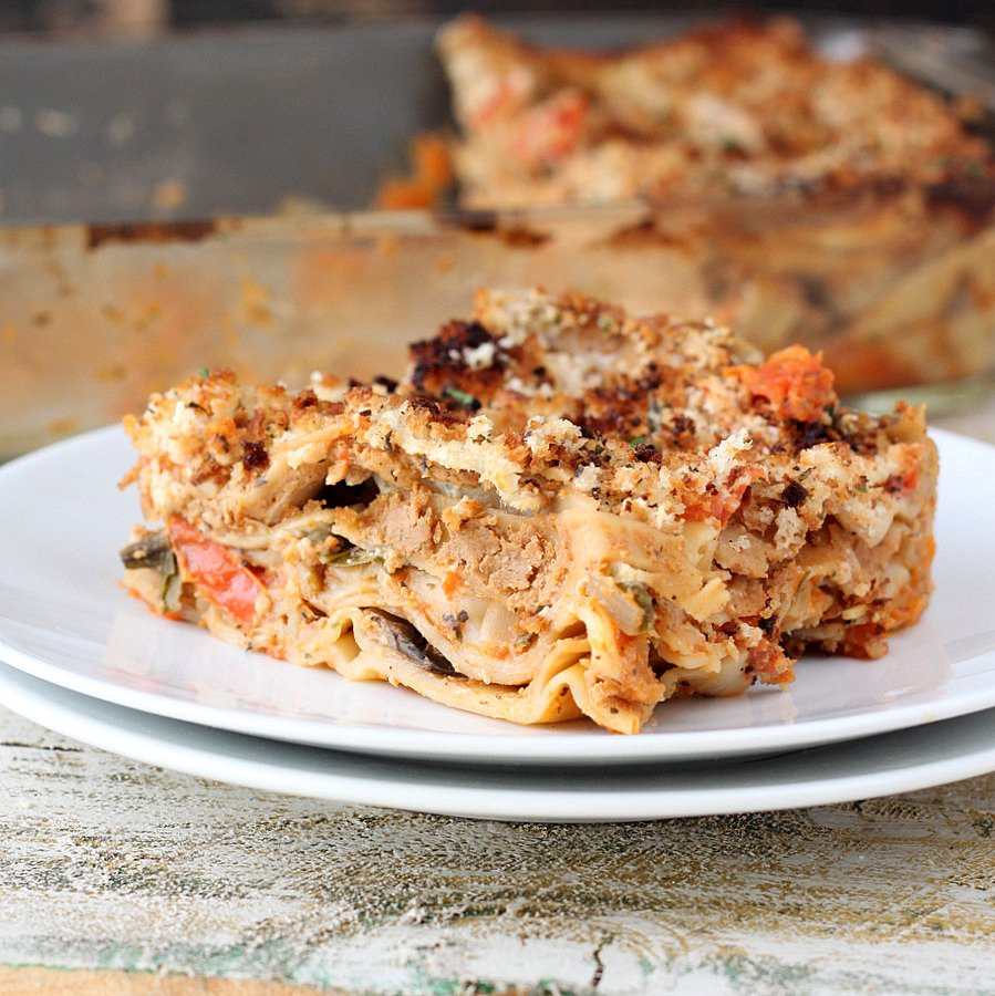 Mushroom Spinach Lasagna Vegan Recipe