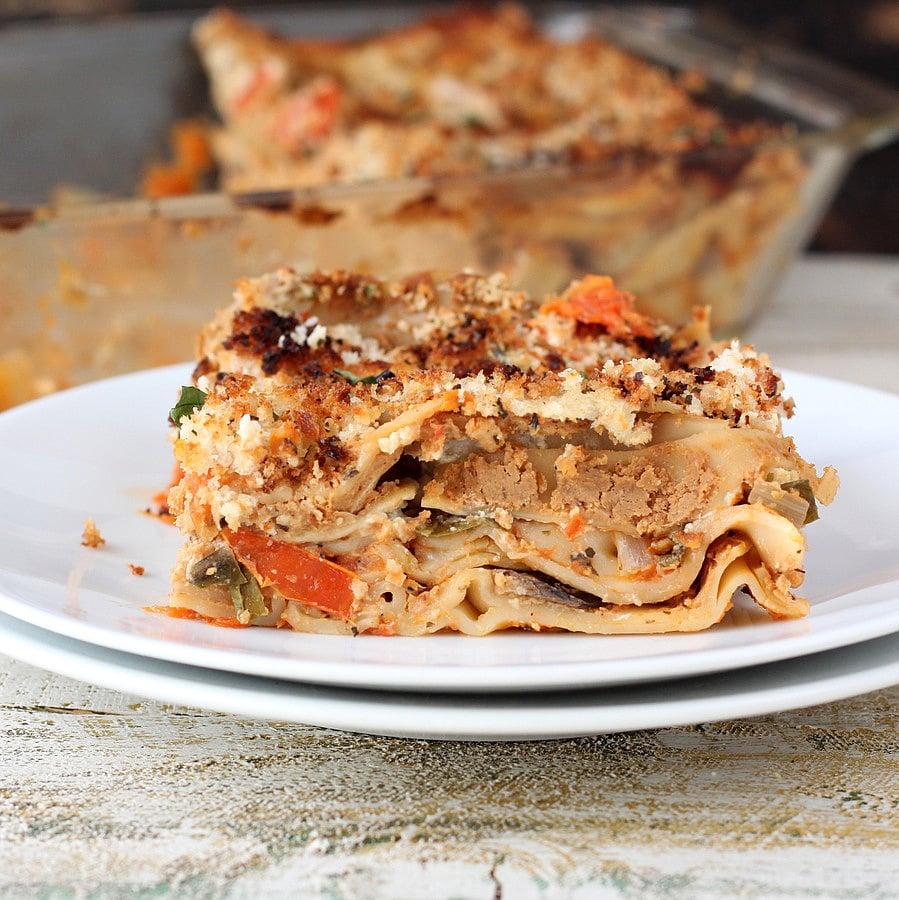 Vegan Richa:Chipotle sauce, Mushroom, Spinach Lasagna