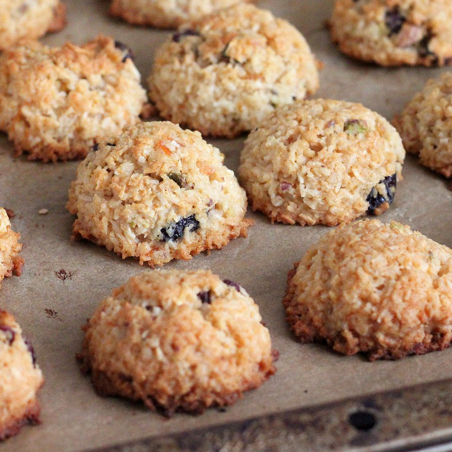 Zesty Coconut Macaroons with Cranberries and Pistachios for Kristy's