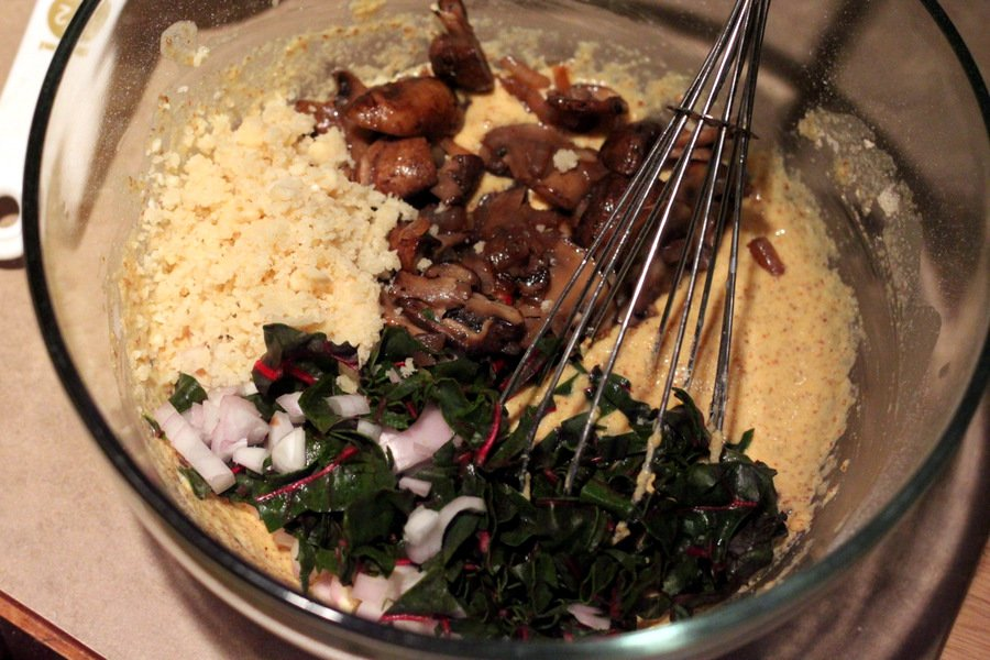 Vegan Soy free Frittata with Mushroom Chard Shallots and Almond Feta ...