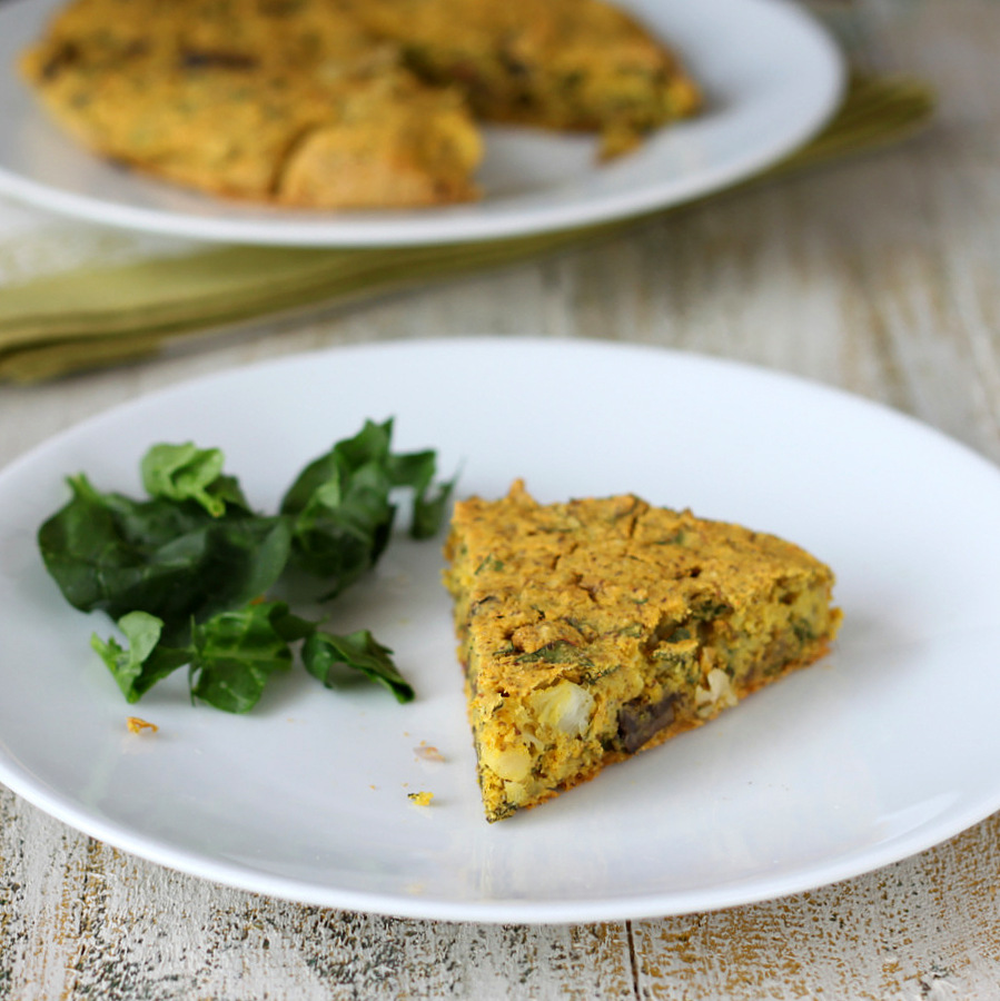Vegan Soy free Frittata with Mushroom Chard Shallots and Almond Feta. Chickpea flour frittata. Dairy-free Savory breakfast recipe. No Tofu. | VeganRicha.com #vegan #glutenfree #breakfast
