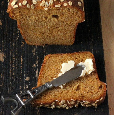 Pumpkin Wheat Bread Loaf. Vegan Recipe