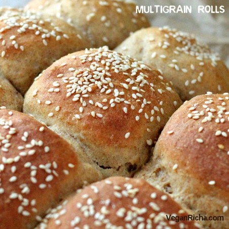 Multigrain Buns / rolls with Spelt Rye Kamut Sorghum Barley. vegan burger buns or dinner rolls. soy-free recipe