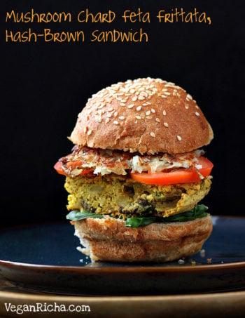 Mushroom Frittata Hash-brown Sandwich and more Super Bowl Vegan Recipes.