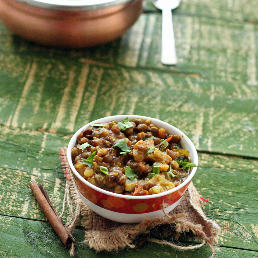 Curried Lentil Stew with Cauliflower. Gobi Waali Sabut Masoor | Vegan Richa