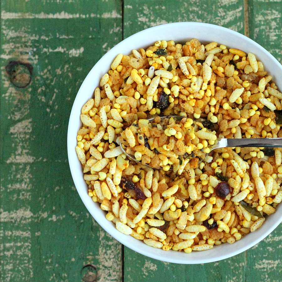 Quinoa Chivda - Savory Cereal/Trail Mix Snack with puffed quinoa | Vegan Richa
