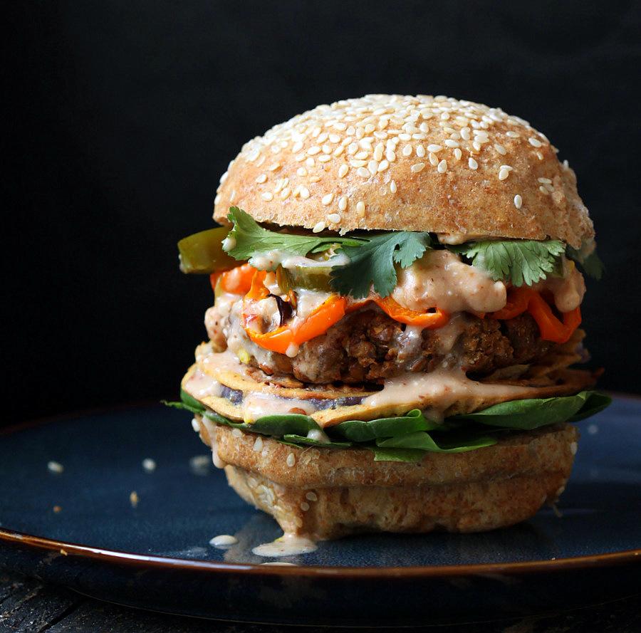 Red Lentil Cauliflower Burger with Chipotle Habanero Mayo. Vegan.