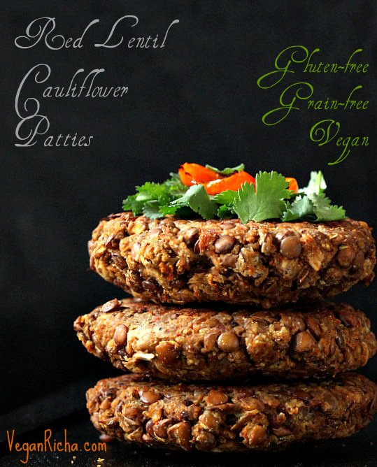 stack of three red lentil cauliflower burger patties with text overlay