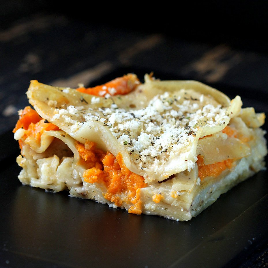 Sweet Potato Cauliflower Bechamel Lasagna vegan