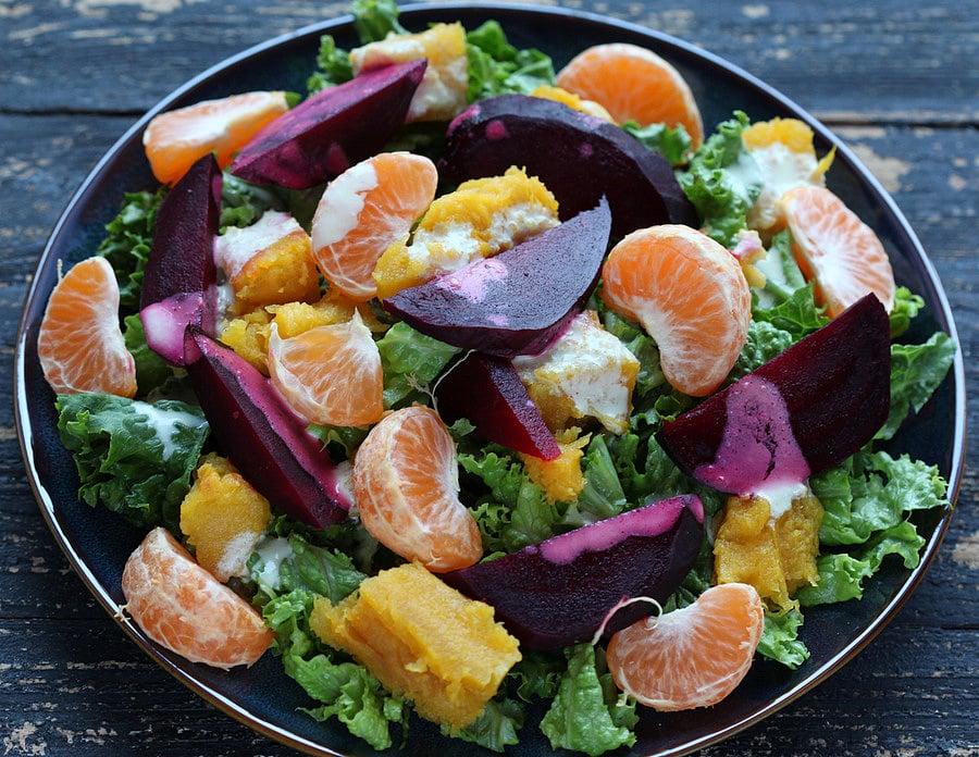 Roasted Acorn, Beet, Satsuma Salad with Almond Sesame dressing