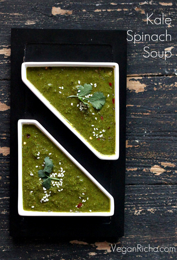 Kale Spinach Ginger Miso Soup | Vegan Richa