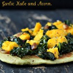 Oil-free Cheesy Avocado Naan flatbread with Garlic Kale and Roasted Acorn. Vegan recipe