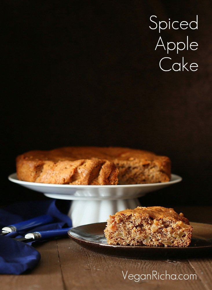 Vegan Spiced Apple Cake with Salted Caramel | Vegan Richa