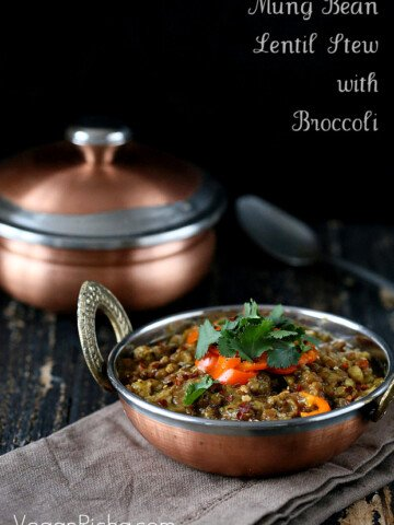 Broccoli Dal. Mung Bean and Lentil Stew with Broccoli and Mini Peppers. Sabut Masoor aur Sabut Mung Daal. Vegan Glutenfree soy-free Indian Dahl Recipe Serves 2 to 3