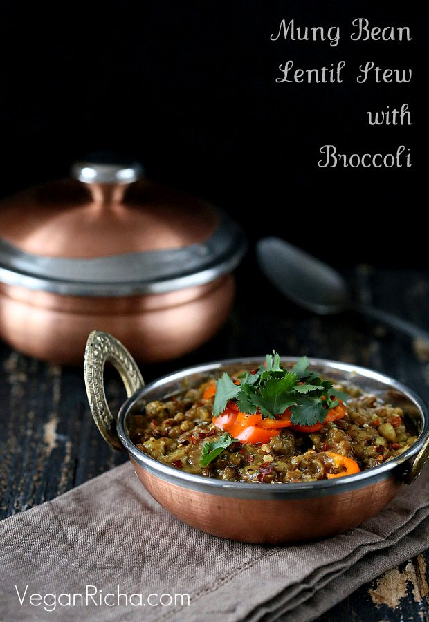 Broccoli Dal. Mung Bean and Lentil Stew with Broccoli and Mini Peppers.| VeganRicha.com
