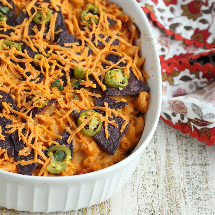 Vegan Nacho Mac and Cheese Casserole