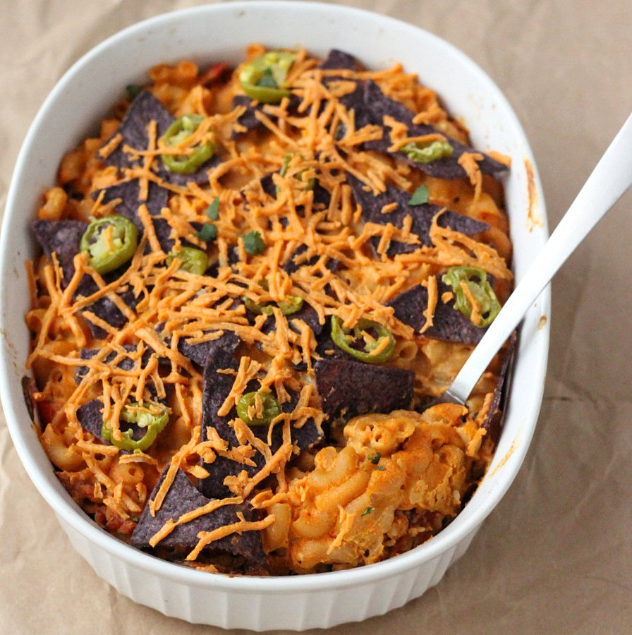 Nacho Mac and Cheese Casserole with Taco Tempeh meat. Vegan Recipe. Can be made soy-free with cooked chickpeas or beans instead of Tempeh | VeganRicha.com