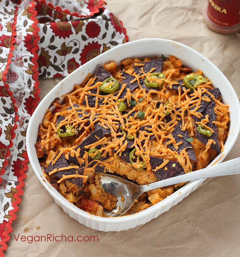 Nacho Mac and Cheese Casserole with Taco Tempeh meat | VeganRicha.com #vegan #nacho #mac