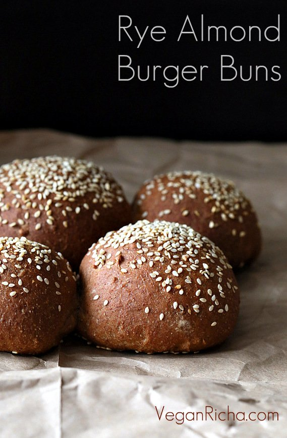 blog graphic for rye and almond flour vegan burger buns recipe with small text overlay in one corner