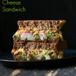 Grilled Nacho Cashew Millet Cheese Sandwich with Roasted Sweet Potato, Pea Pesto. Vegan Recipe