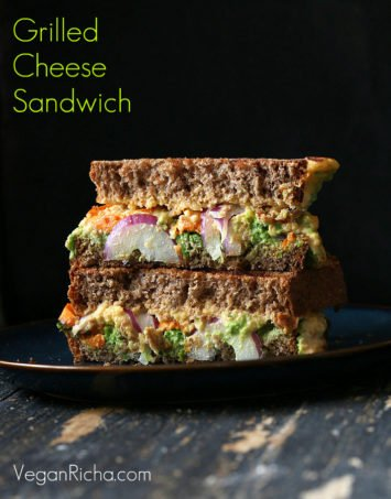 Grilled Nacho Cashew Millet Cheese Sandwich with Roasted Sweet Potato, Pea Pesto. Creamy nacho cheese made with cashews and cooked millet. Makes 2