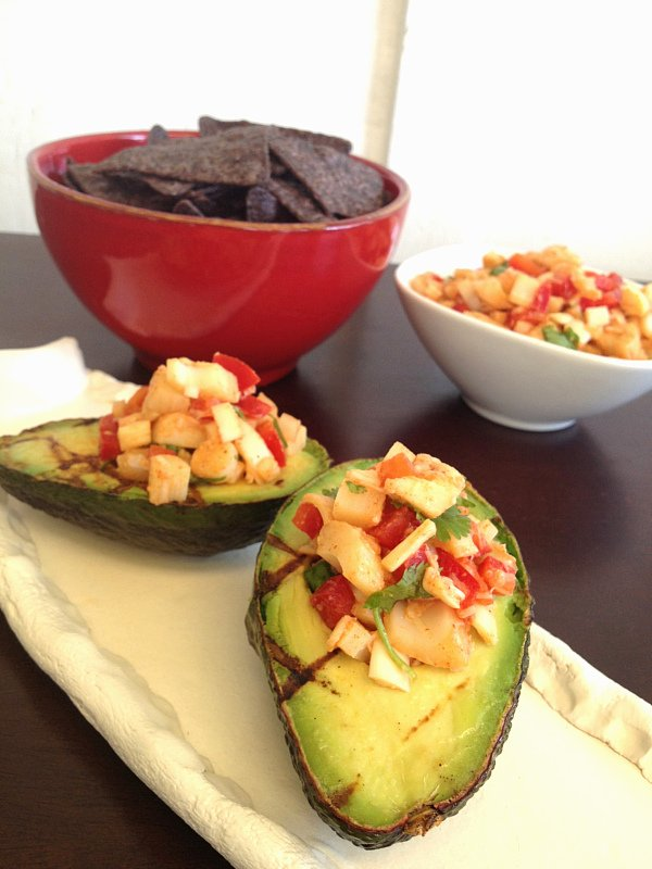 grilled avocado with hearts of palm salsa - 2