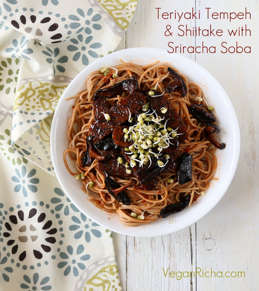 Teriyaki Tempeh with mushrooms and soba noodles. Homemade Vegan Teriyaki Sauce. | VeganRicha.com #vegan #asian #recipe