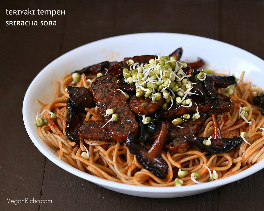 Vegan Teriyaki Tempeh and Shiitake Mushrooms with Sriracha Soba