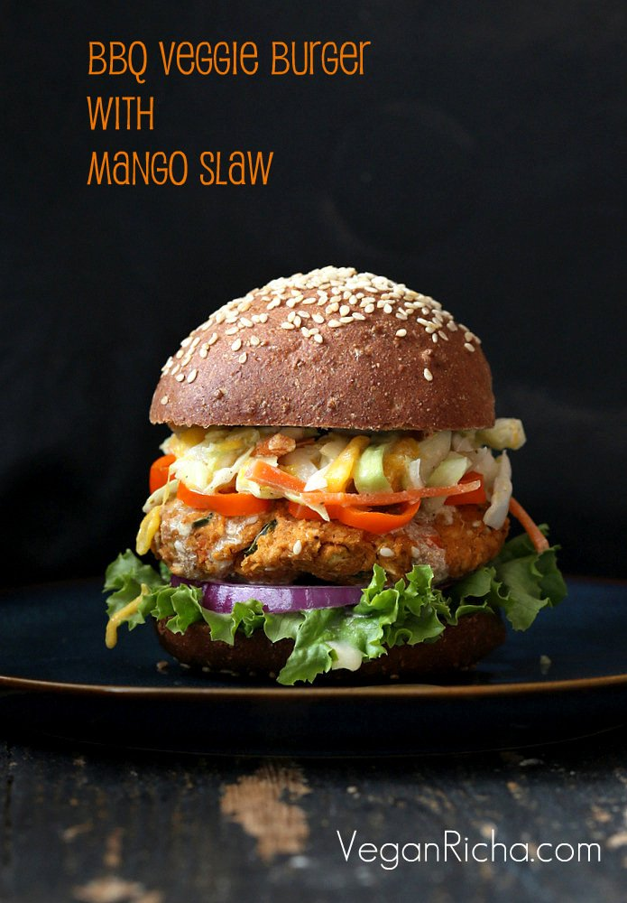 BBQ Lentil Veggie Burger with Mango Carrot Slaw and barbecue sauce. Serve as burgers or over a crisp salad.   VeganRicha.com #vegan #burger #lentil #veggieburger