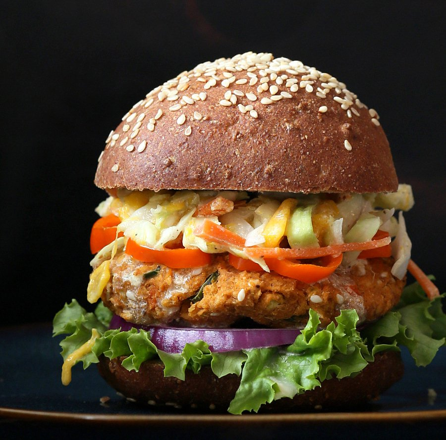 Vegan BBQ Veggie Burger with Mango Carrot Slaw