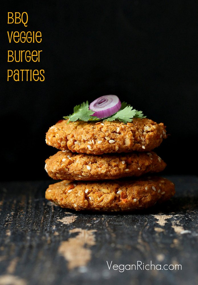 Smoky BBQ Veggie Burger Patties - Vegan