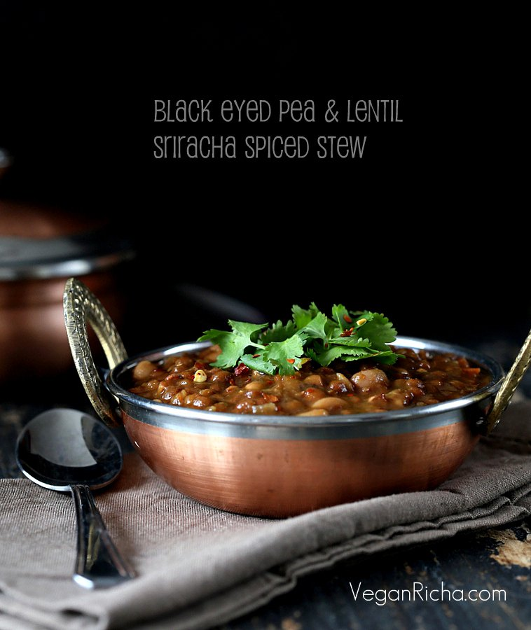 Vegan Black Eyed Pea and Lentil Stew with Sriracha Tadka