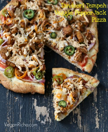 Tandoori Tempeh, Mini Peppers, Pepper Jack Pizza on Crisp White crust. Vegan Recipe