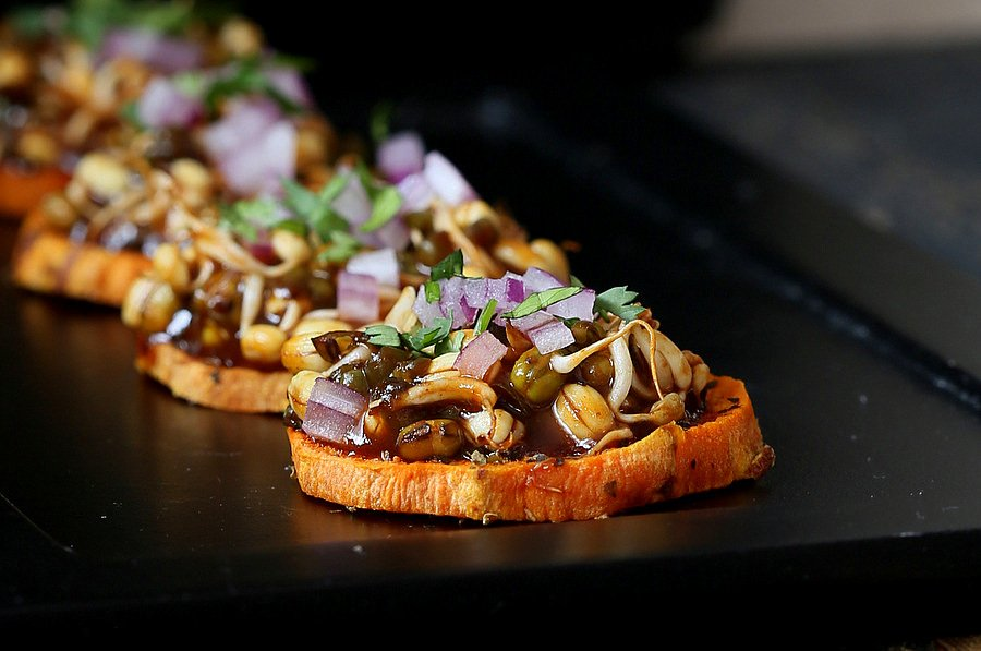 Sweet Potato Canapes with Barbecue Mung Bean Sprouts