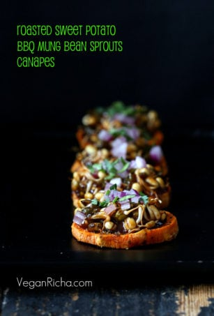 These Sweet Potato Canapes are very addictive, topped with Mung Bean Sprouts tossed in BBQ sauce.