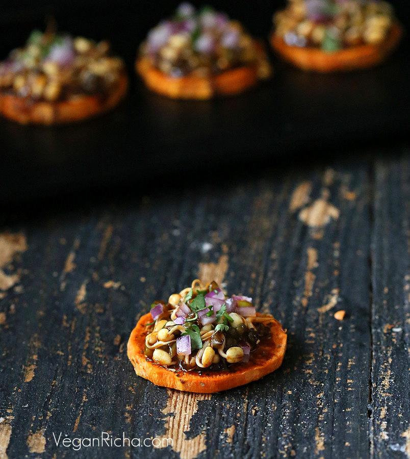 BBQ Mung Bean Sprouts Sweet Potato Canapes- Vegan