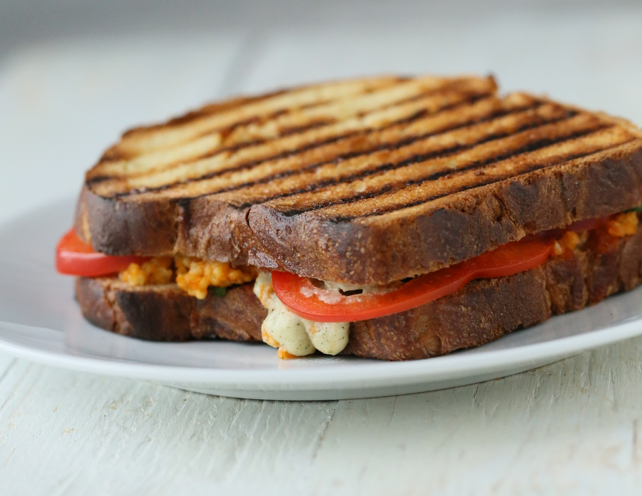 Grilled Sandwich with Buffalo Millet, Red Bell Pepper, Creamy Ranch