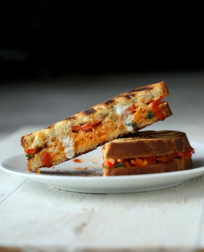 Grilled Sandwich with Buffalo Millet, Red Bell Pepper, Creamy Ranch. Vegan
