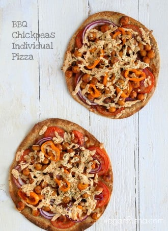 BBQ Chickpea Tortilla Pizza. Vegan Recipe. Easily Glutenfree