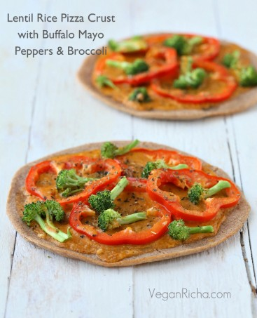 Gluten-free Lentil Rice Crust Pizza with Buffalo Mayo sauce, Red Bell Peppers and Broccoli. Vegan Gum-free Oil-free Recipe