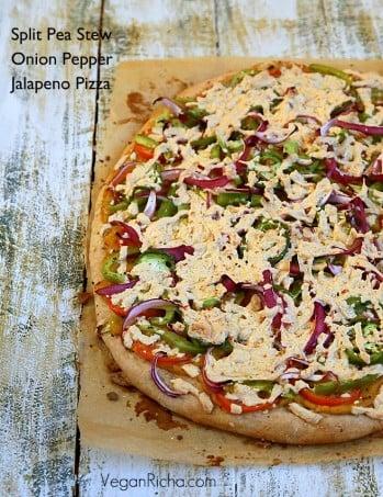 Split Pea Stew, Tomato, Onion, Pepper, Jalapeno Pizza – Sambhar Hummus Pizza. Vegan Recipe