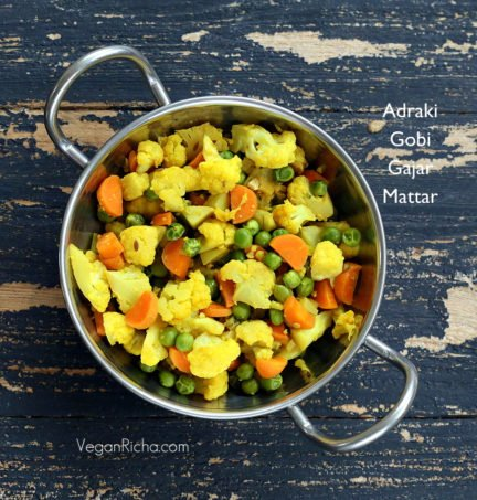 Adraki Gobi Gajar Matter - Cauliflower Carrots Peas cooked with ginger and cumin seeds.