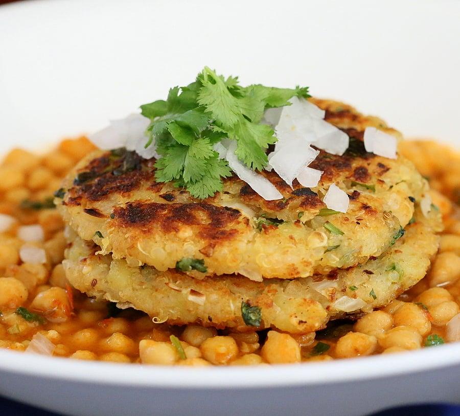 Potato Quinoa Patties with Chickpea curry. Tikki Chole | VeganRicha.com #vegan #recipe