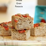 100% Whole Grain Tomato Basil Focaccia. Whole Wheat Tomato Basil Foaccia bread Recipe. Use other herbs like rosemary or thyme. Vegan Soy-free Recipe Makes a 9 by 5 inch 1.5 inch thick focaccia #glutenfree #veganricha #vegan