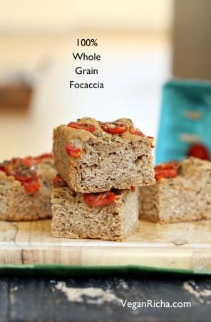 100% Whole Grain Tomato Basil Focaccia. Whole Wheat Tomato Basil Foaccia bread Recipe. Use other herbs like rosemary or thyme. Vegan Soy-free Recipe Makes a 9 by 5 inch 1.5 inch thick focaccia #glutenfree #veganricha #vegan