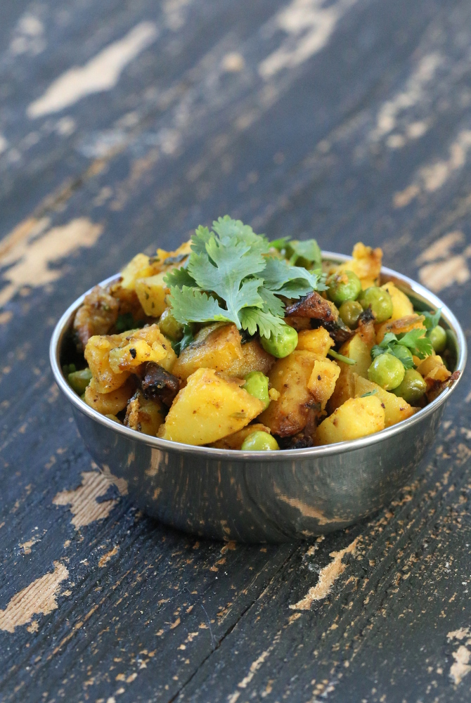 Dhania Waale Aloo Matar. Potatoes and peas spiced with Indian spices and cilantro   Vegan Richa