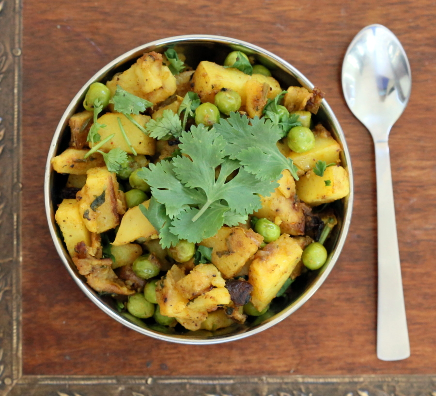Dhania Waale Aloo Matar. Potatoes and peas spiced with Indian spices and cilantro | Vegan Richa